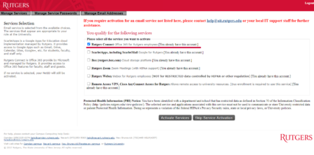 Service Activation Rutgers Connect