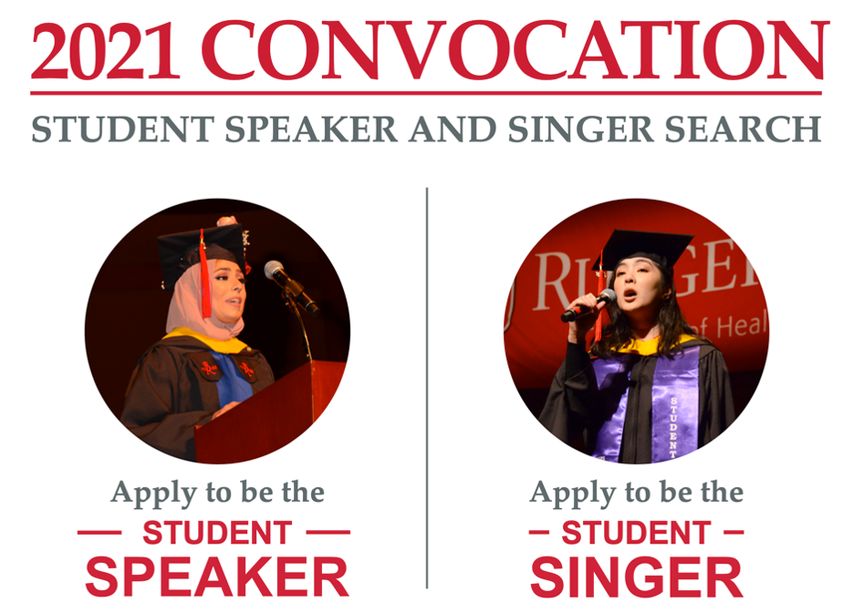 2021 Convocation student speaker and singer search image of previous speaker and singer asking students to apply