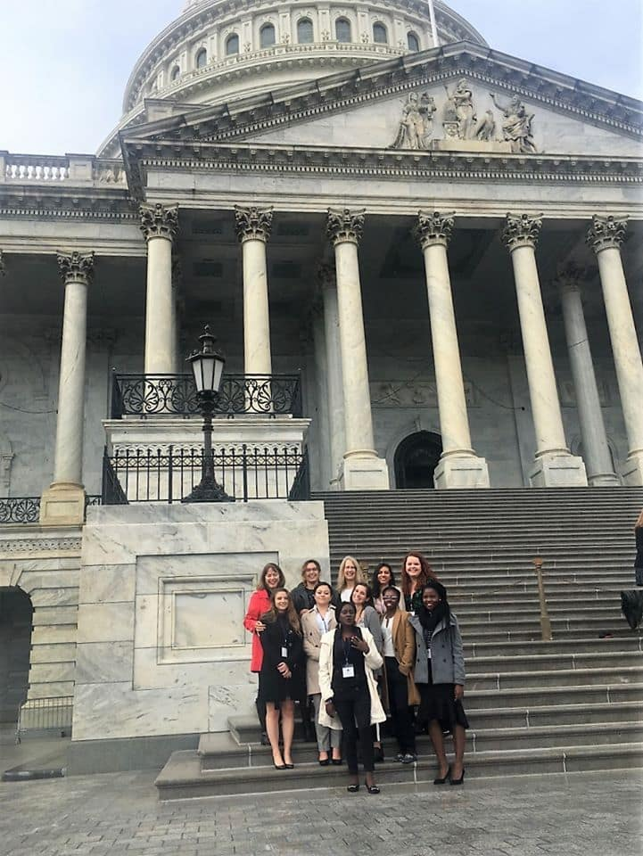 Rutgers SHP student Cynthia Orozco standing on the steps of the Capitol builidng in Washington D.C.