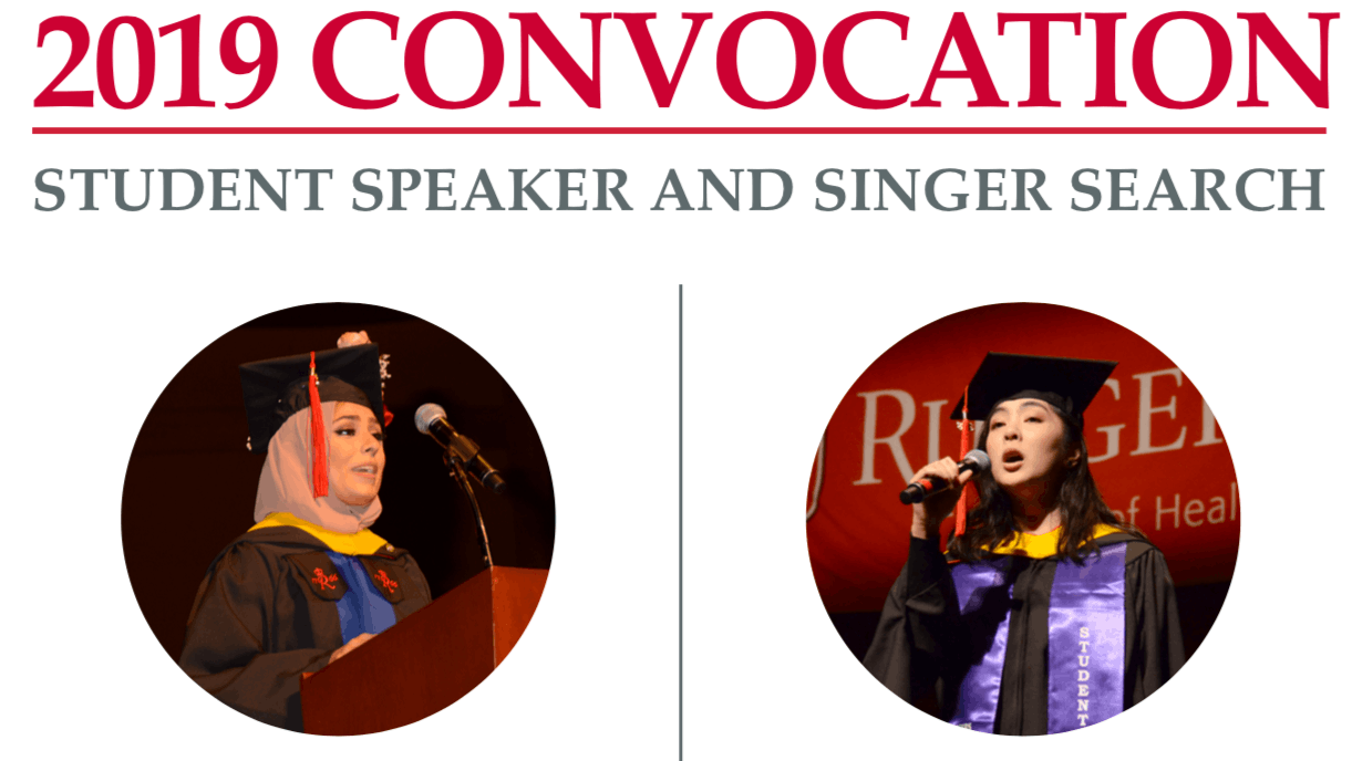 Images of graduating students singing and speaking at a Convocation 2018.