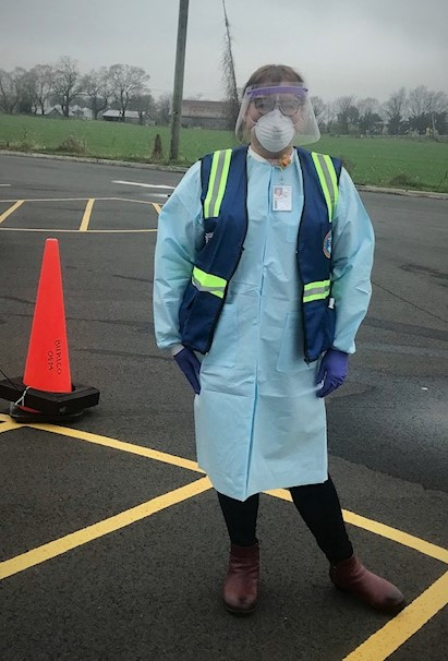 Dawn Reinhardt Wood in protective garb at Covid-19 testing site