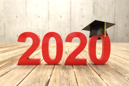 Words 2020 with a black graduation cap on the second zero