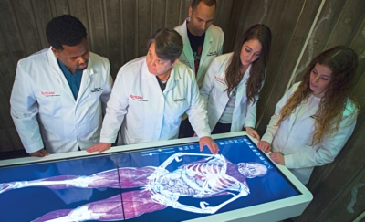Students in Rutgers Physician Assistant program examine a new virtual cadaver